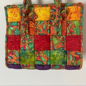 Hand made quilted bag wild colorful